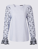 Limited Edition Flared Cuff Cutwork Sleeve Blouse