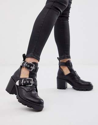 Public Desire Maia black buckle detail cut out ankle boots