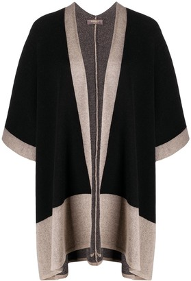 N.Peal Contrast Edge Cashmere Poncho