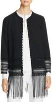 Elie Tahari Pearl Fringe Hem Coat