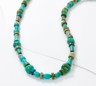 "American West Multi Shape Turquoise Bead Sterling Silver 17"" Necklace"