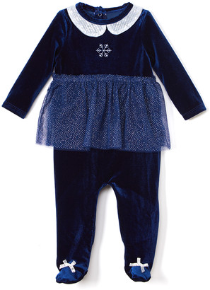 Baby Starters Girls' Footies Blue - Navy & Silver Collared Skirt Footie - Infant