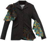 Matty Bovan - Liberty-print Poplin And Flannel Jacket - Womens - Dark Grey