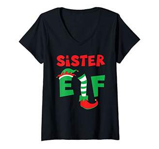 Womens Sister Elf I Xmas Party Photo Booth Clothing Accessory Gift V-Neck T-Shirt
