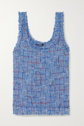 Balmain Frayed Embellished Metallic Tweed Tank - Blue