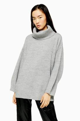 Topshop Womens Grey Longline Roll Neck Jumper With Wool - Grey Marl