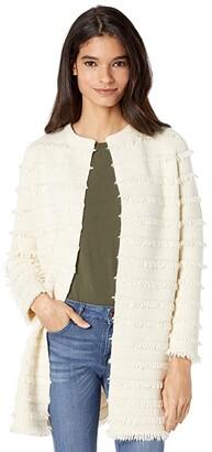 J.Crew Fringe Collarless Sweater-Blazer (Heather Muslin) Women's Sweater