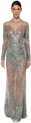 Elie Saab Long Sleeve Embellished Tulle Dress