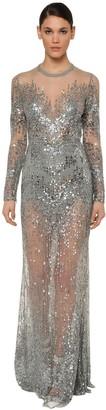 Elie Saab Long Sleeve Embellished Tulle Dress