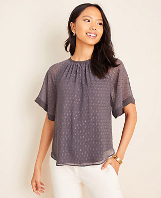 Ann Taylor Petite Shimmer Clip Tie Back Top