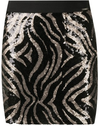Liu Jo Sequin Tiger Print Skirt