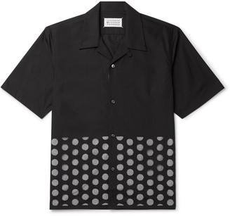 Maison Margiela Camp-Collar Cutout Cotton-Poplin And Gingham Shirt