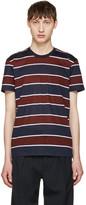 Ami Alexandre Mattiussi Navy Striped Pocket T-shirt