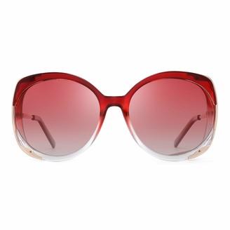 GLINDAR Oversized Polarized Sunglasses for Women Designer Frame Gradient Lens (Tortoise Frame/Polarized Gradient Brown Lens)