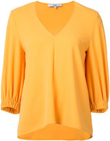 Tibi V neck flared top - women - Polyester/Spandex/Elastane - XS