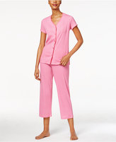 Charter Club Loop-Trimmed Top and Cropped Pants Printed Pajama Set, Only at Macy's