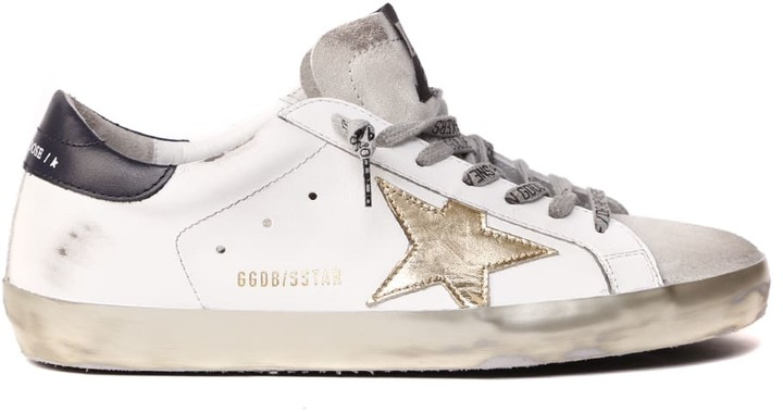 Golden Goose White Superstar Leather Sneaker With Gold Iconic Star