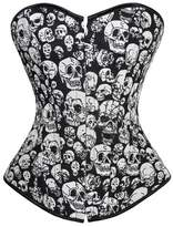 Kranchungel Women's Gothic Skull Crossbone Fashion Boned Corset Punk Burlesque Bustier 6X-Large