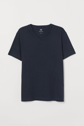 H&M Regular Fit V-neck T-shirt - Blue