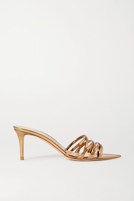 Gianvito Rossi Lita 70 Metallic Leather Sandals - Gold