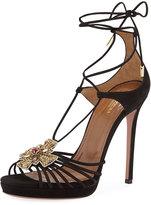 Aquazzura Empress Embellished Suede Sandal, Black