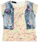 Blumarine Jeans Printed Satin & Cotton Jersey T-Shirt