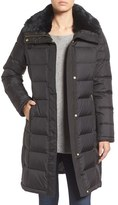 Cole Haan Water Repellent Down & Feather Coat with Faux Fur Collar