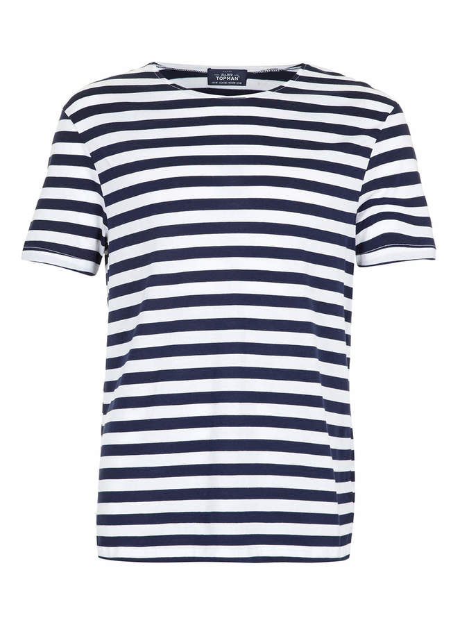 Topman Navy And White Stripe T-Shirt
