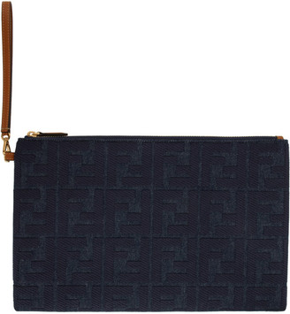 Fendi Indigo Denim Large Forever Embossed Pouch