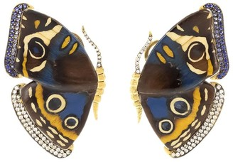 Silvia Furmanovich 18kt yellow gold diamond Marquetry Butterfly earrings