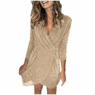 Shenye Women's Glitter Casual Dresses Sexy Party Irregular Evening Nightclub Sequin Long Sleeves Dress Gold