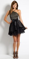 Camille La Vie Two Tone Lace Halter Homecoming Dress