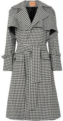Maggie Marilyn Be Strong And Courageous Gingham Cotton And Herringbone Wool Trench Coat