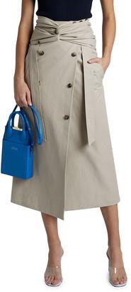 Rokh High-waist Twist Wrap Midi Skirt