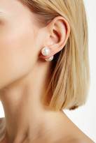 Gold Plated Sterling Silver Double Sided 12-14mm Shell Pearl Earrings