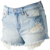Mudd Juniors' Crochet Pocket Ripped Shortie Shorts