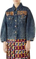 Gucci Spiritismo Button-Down Marbled-Denim Jacket