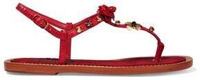 Dolce & Gabbana Embellished Lizard-Effect Leather Sandals