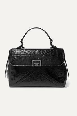 Givenchy Id Medium Quilted Crinkled Glossed-leather Shoulder Bag - Black