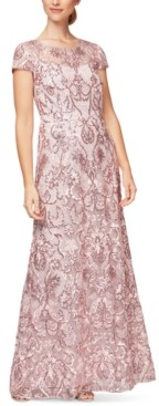 Alex Evenings Petite Embellished Embroidered Gown, Created for Macy's