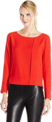 Lilla P Women's Crepe Long-Sleeve Pleat Front Blouse