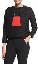 Armani Collezioni Zip-Front Mesh Cropped Jacket, Black/Multi