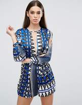 AX Paris Geometric Printed Playsuit With T Bar And Split Sleeve