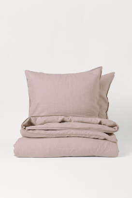 H&M Washed Linen Duvet Cover Set - Pink