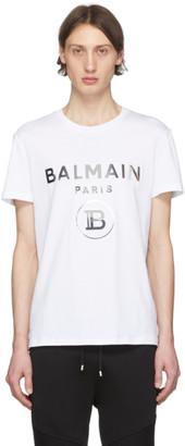 Balmain White Rubberized Logo T-Shirt