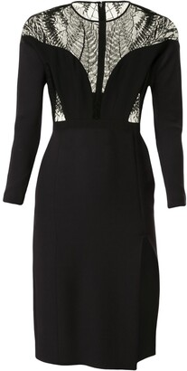 Gucci Pre Owned Lace Panelling Fitted Dress