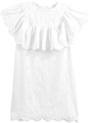 La Redoute Collections Cotton Sleeveless Ruffled Dress in Broderie Anglaise