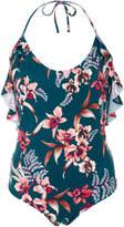 Tori Praver Babette Ruffle-Trimmed Floral-Print One-Piece Swimsuit