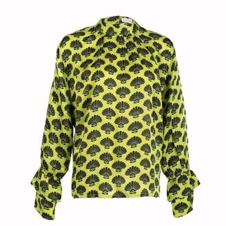 Asneh Green Satin Silk Fan Print Kate Blouse