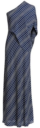 Halston Asymmetric Sleeve Striped Georgette Gown